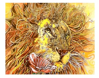 Lion illustration wall art print. Yellow bright colors.Great holiday gift.