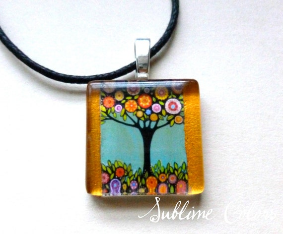 "Wearable Art Pendant with a print from my original painting ""Tree with flowers"""