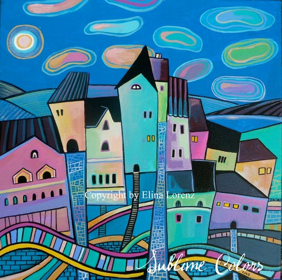 "Art Print from original watercolor painting ""City at night"" by Elina Lorenz"