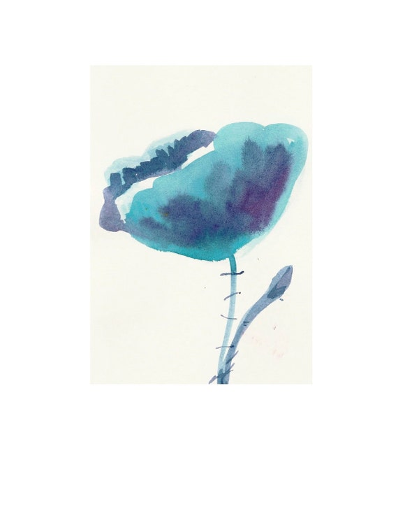 Organic Art Original watercolor painting of a Blue poppy by Elina Lorenz, room decor, wall art