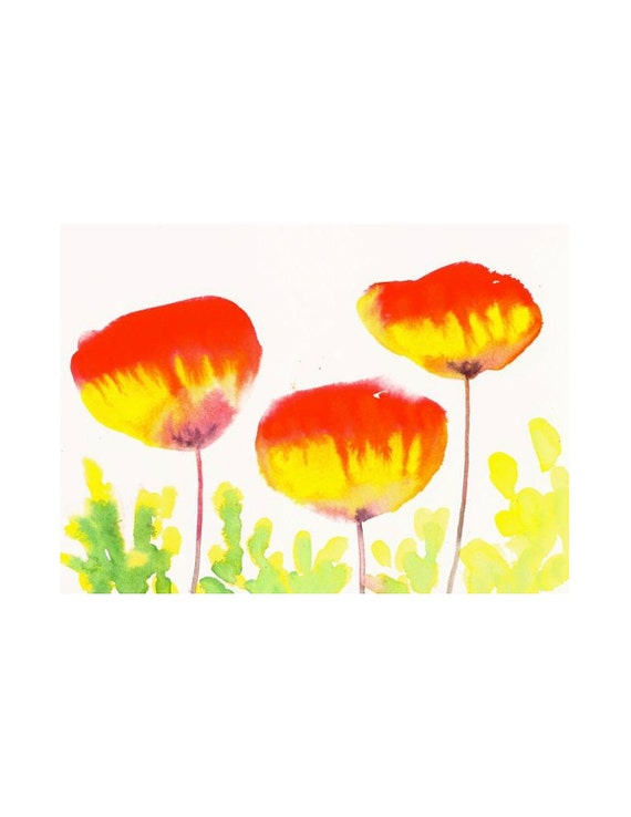 Organic Art Original watercolor painting of  Poppies by Elina Lorenz, room decor, wall art
