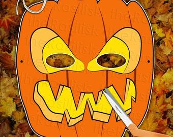 Scary Pumpkin Jack-o-Lantern Mask   Printable PDF, Pary, Kids, Halloween