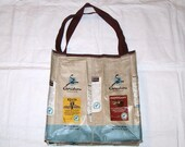 Handmade Purse Made With Recycled Caribou Coffee bags upcycled repurposed