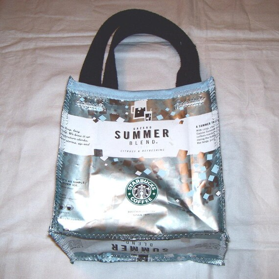 Fun Eco Friendly Purse made with Recycled Starbucks Coffee bags Summer Blend upcycled repurposed