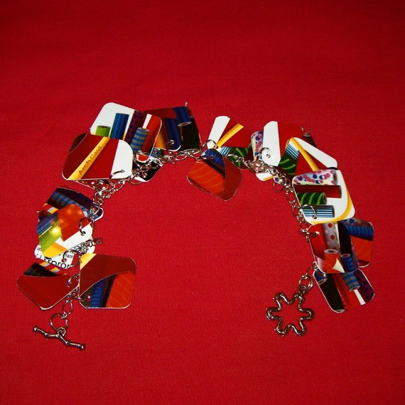 Upcycled Gift Card Charm bracelet made with McDonalds gift card pieces recycled
