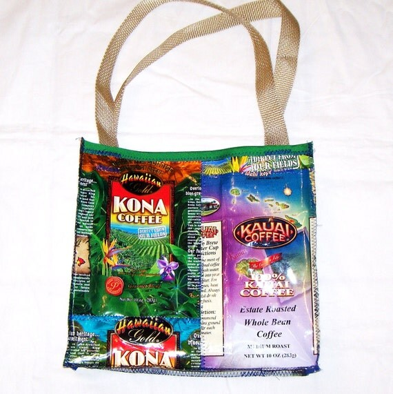 Eco Friendly Purse made with Recycled HAWAIIAN Coffee Bags Variety Patchwork One of a Kind upcycled