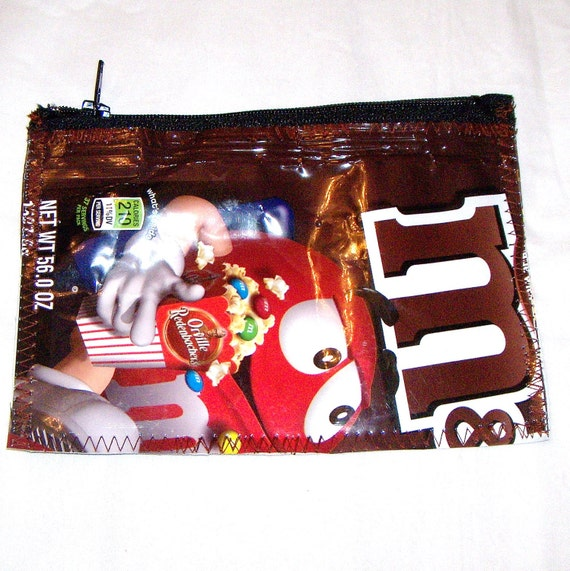 Eco Friendly Change Purse Wallet Snack bag made with Recycled Chocolate Candy bags upcycled