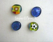 Sport Theme Set of 4 Glass Marble Magnets