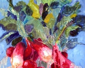 Summer Radishes Art Print / Red Radishes - Leafy Greens - Blue Summer Sky / 8 x 10 / Limited Edition Signed Print
