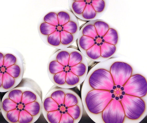 Polymer clay millefiori cane - Pink, Lavender and Purple Flower