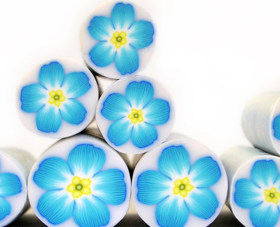 Polymer clay millefiori cane - Forget me not - Blue, white and Lemon Yellow Flower
