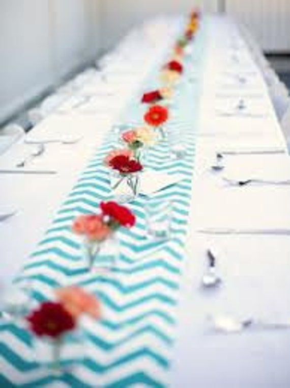Aqua and White Chevron Table Runner
