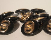 Vintage Buttons - Black Double Wedding Ring Buttons - Black Shank Buttons - Black and Gold Buttons - Matching Buttons - Replacement Buttons