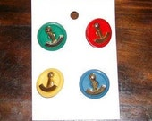 Vintage Anchor Buttons - Primary Colored Buttons - Set of 4 Nautical Buttons - Clothing Buttons - Replacement Buttons - Vintage Buttons