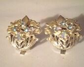 Vintage Earrings - Fleur De Lis Earrings - Rhinestone Earrings - Clip On Earrings - Vintage Rhinestone Earrings - Vintage Jewelry