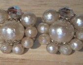 Vintage Earrings - Clip On Earrings - Pearly Bead Earrings - Faceted Bead Earrings - Vintage Jewelry - Costume Jewelry
