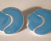 Vintage Earrings - Blue Enamel Earrings - Silver Accent Earrings - Clip On Earrings - Vintage Jewelry - Small Clip On Earrings