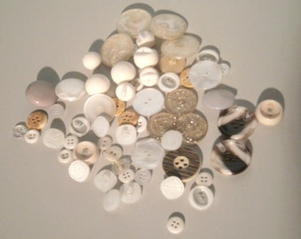 White Button Assortment - Vitnage Buttons - Buttons - Craft Supply Buttons - Sewing Supply Buttons - Shank Buttons - Flat Buttons - W309