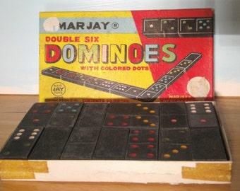 Vintage Marjay Dominoes - Double Six Dominoes - Wood Dominoes - Made in Japan - Old Wooden Dominoes - Dominoes Game - Vintage Dominoes