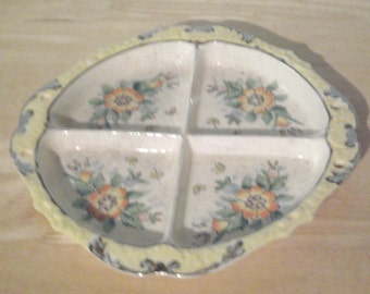 Vintage Divided Dish - Hand Painted - Flowers and Butterflies - Made In Japan - Yellow Dish - Relish Dish - Appetizer Dish - Floral Dish
