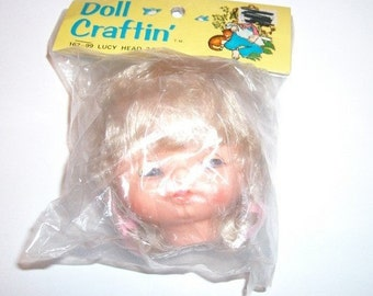 Vintage Doll Head - Doll Crafting Head - Lucy Head - New In Package - Blonde Hair - Moving Eyes - Doll Making Supply