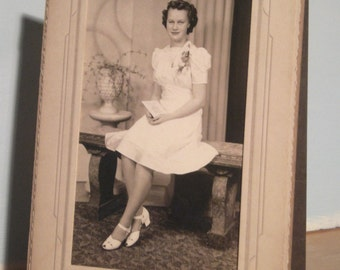 Vintage Photo - Lady In White - Old Photograph - Woman In White Dress - Picture Day - Tiffen Studios Chicago Illinois