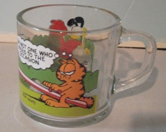 Vintage Garfield & Odie Cup - McDonalds Coffee Mug - 1980s Garfield - McDonalds Promotional Coffee Mug - Jim Davis - Glass Coffee Cup
