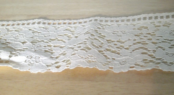 Vintage Lace - White Lace with Green Sheer Backing - By The Yard - Craft Supply - Sewing Supply - Sewing Trim - Lace Trim
