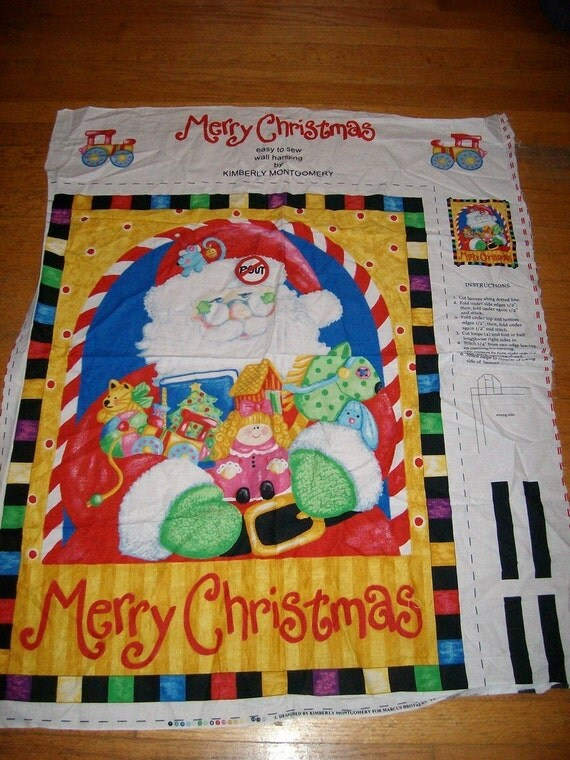 Christmas fabric panel santa quilt by carriesattic