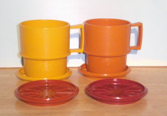 Vintage Tupperware Coffee Cups and Coasters
