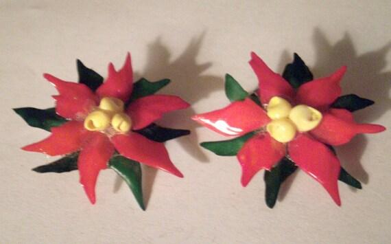 Vintage Earrings Christmas Clip Ons Poinsettia