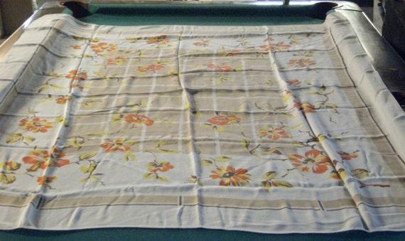 Vintage Table Cloth Orange Flowers 1970s
