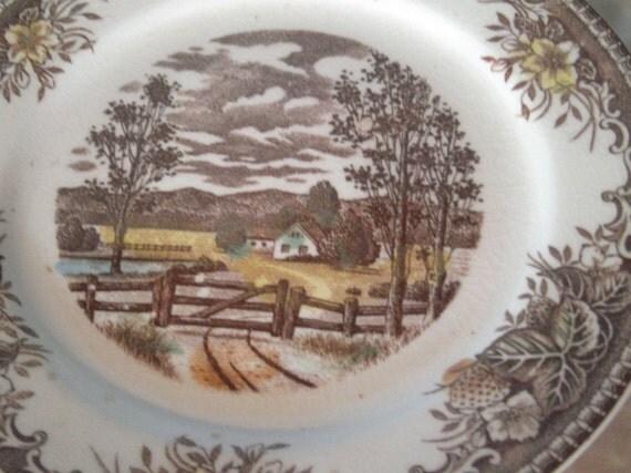 Vintage Decorative Plate Farm Scene Made In Japan