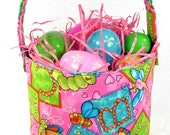 Easter Fabric Basket Handmade Reversible - Bugs and Butterflies - washable cloth - egg hunting
