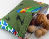 Reusable snack bag - Skateboard green sports boy kid teen party favor stocking stuffer ecological food storage pouch - Sac collation