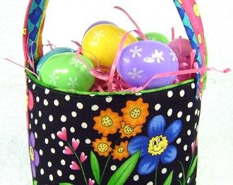 Colorful flowers Easter basket, reversible cloth Easter bucket, storage bin, girl Easter basket, toddler tote, custom handmade easter basket