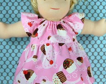 Cupcakes doll dress fits 15 inch Bamboletta Classic or Sitting Friend and similar doll, Waldorf doll dress, Waldorf doll clothes, cotton