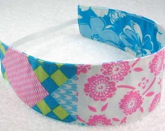 Blue pink flowers cotton headband, non slip headband, reversible headband, baby toddler child adult, girl party favor gift fabric headband,