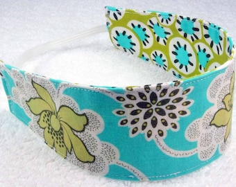 Child headband, reversible cloth headband, Amy Butler cotton fabric flowers newborn baby adult blue aqua lime clematis girl party favor gift
