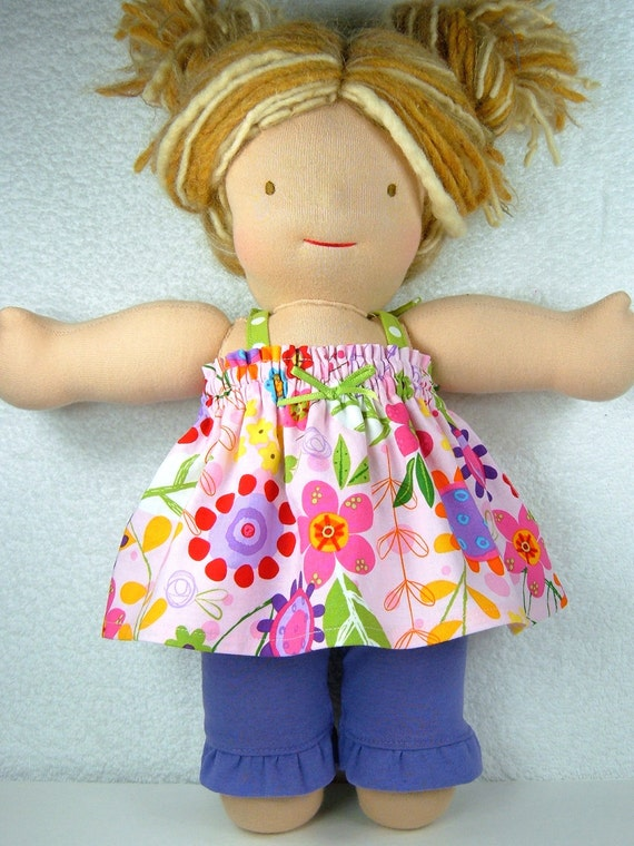 Waldorf doll top and ruffled leggings set Bamboletta outfit - Ready to ship - 15 inch 16 inch Waldorf doll clothing - Ensemble 2 pcs poupée