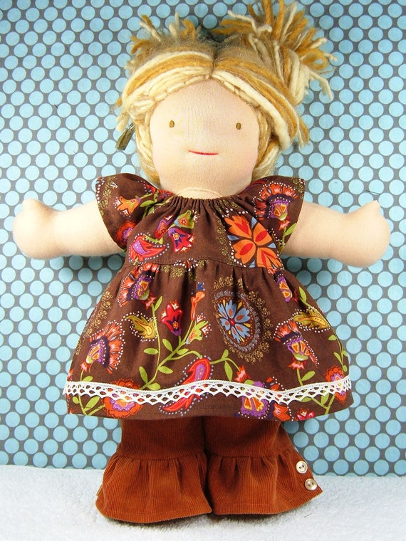 Waldorf doll dress and fancy ruffled pants set - Brown flowered Bamboletta outfit - 15/16 inch doll clothes - Ensemble 2 pcs poupée