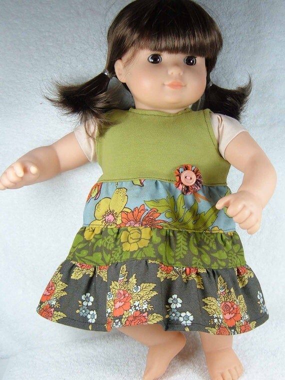 Waldorf doll dress - M2M Matilda Jane Field Trip - for Bamboletta, Bitty Baby or 15/16 inch Waldorf doll - Ready to ship - Robe poupée