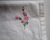 Vintage Embroidered Floral Table Runner