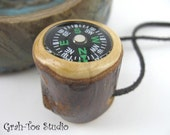 Compass in Wood for Walking Stick or Pocket