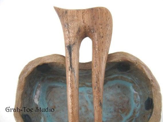 Hair Pin Fork Spalted Pecan wood  Wave Grahtoestudio Shape 2 Prong Hairstick Hairfork
