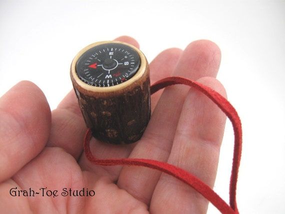 Compass in Wood for Walking Stick or Pocket Scouts Hiking Camping Survival