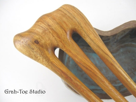 Canary Wood 3 prong Hair Fork LONG Grahtoe Handmade