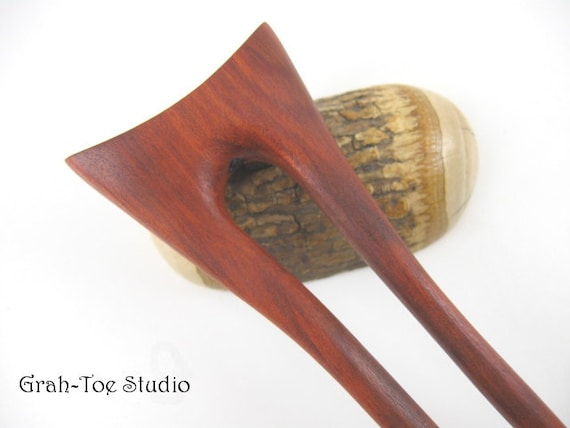 Red Heart Wood Hair Fork Grahtoe Handmade 2 Prong Mermaids Tail Scooped Top Design