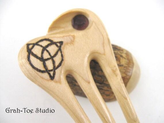Birdseye Maple Wood Celtic Dune Mini Hair Fork Vintage Purple Crystal Grahtoe