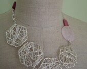 RESERVED FOR STASHA. Pink Quartz, Jade and Silver geometric necklace